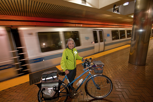 SF Bicycle Coalition Member Cathy Kora Takes her bike on BART during the March 18-22 pilot