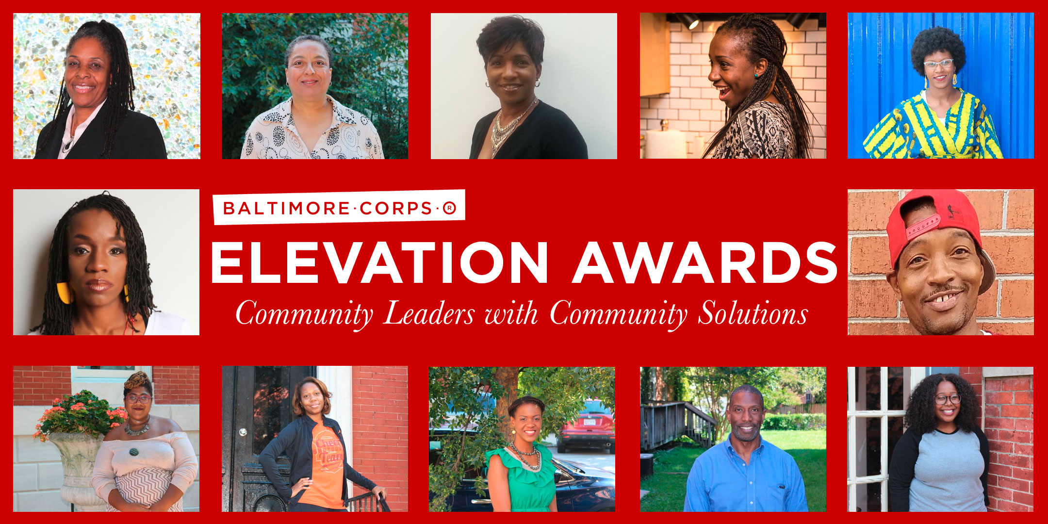 Elevation Awards banner with Awardees pictures Community Leaders with Community Solutions