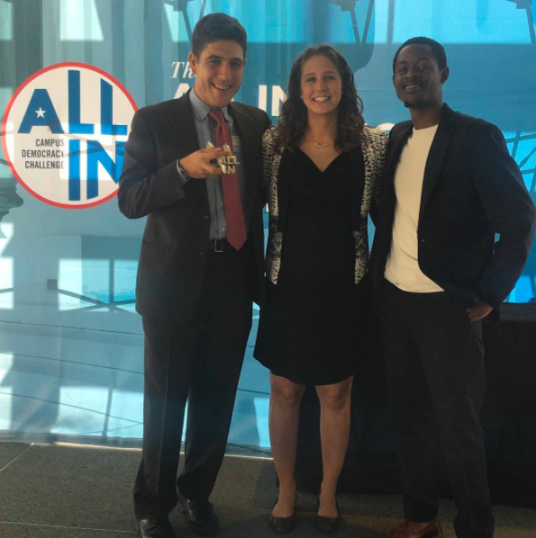 VCL Sam Novey, Staff member Sarah Flammang, and Fellow Eean Logan at the Newseum.