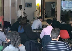 Eean Logan presenting at Baltimore Votes lunch and learn