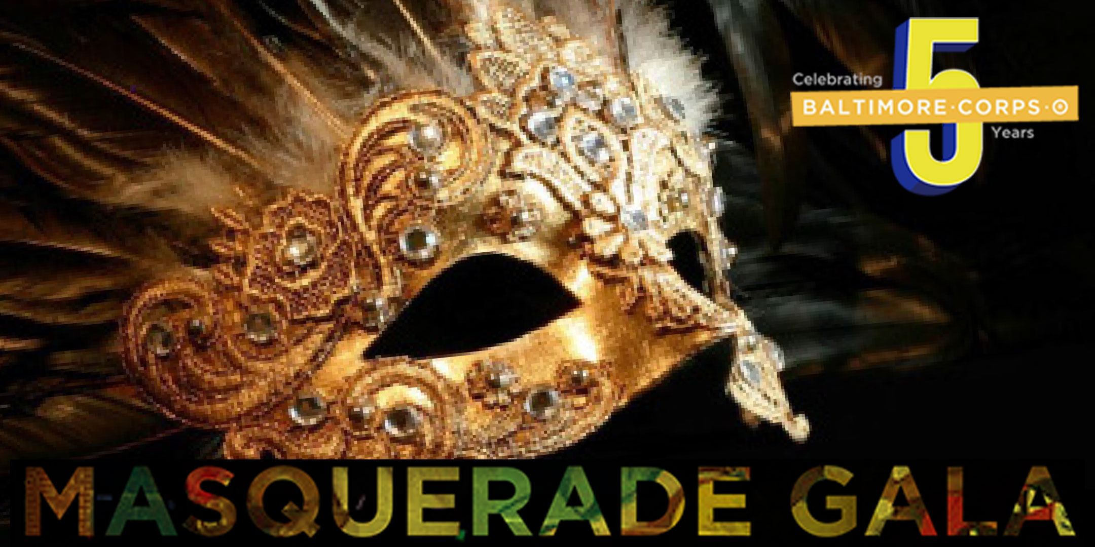 Masquerade Gala with 5-year logo and mask