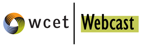 The WCET webcast logo. A multi colored circle graphic next to